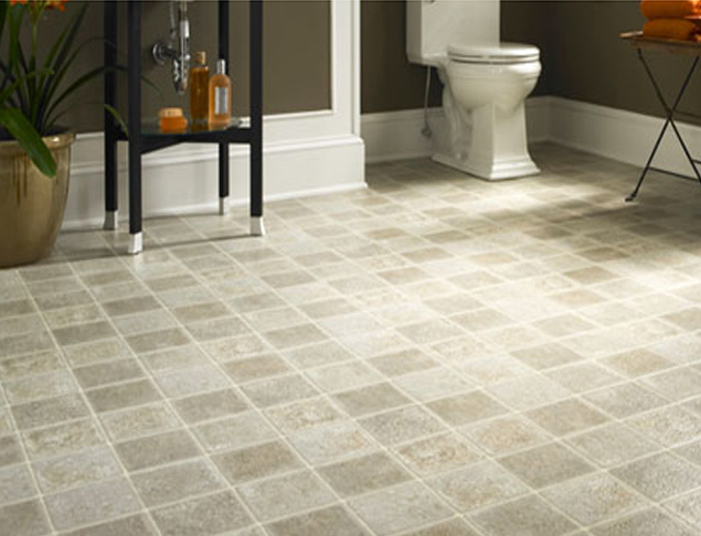 Vinyl Tiles Bathroom Flooring